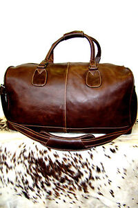 BROWN LARGE HOLDALL  LEATHER, SPORTS, WEEKEND TRAVEL BAG