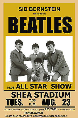 British Invasion: The Beatles at  Shea Stadium Concert  Poster 1966 2nd Printing