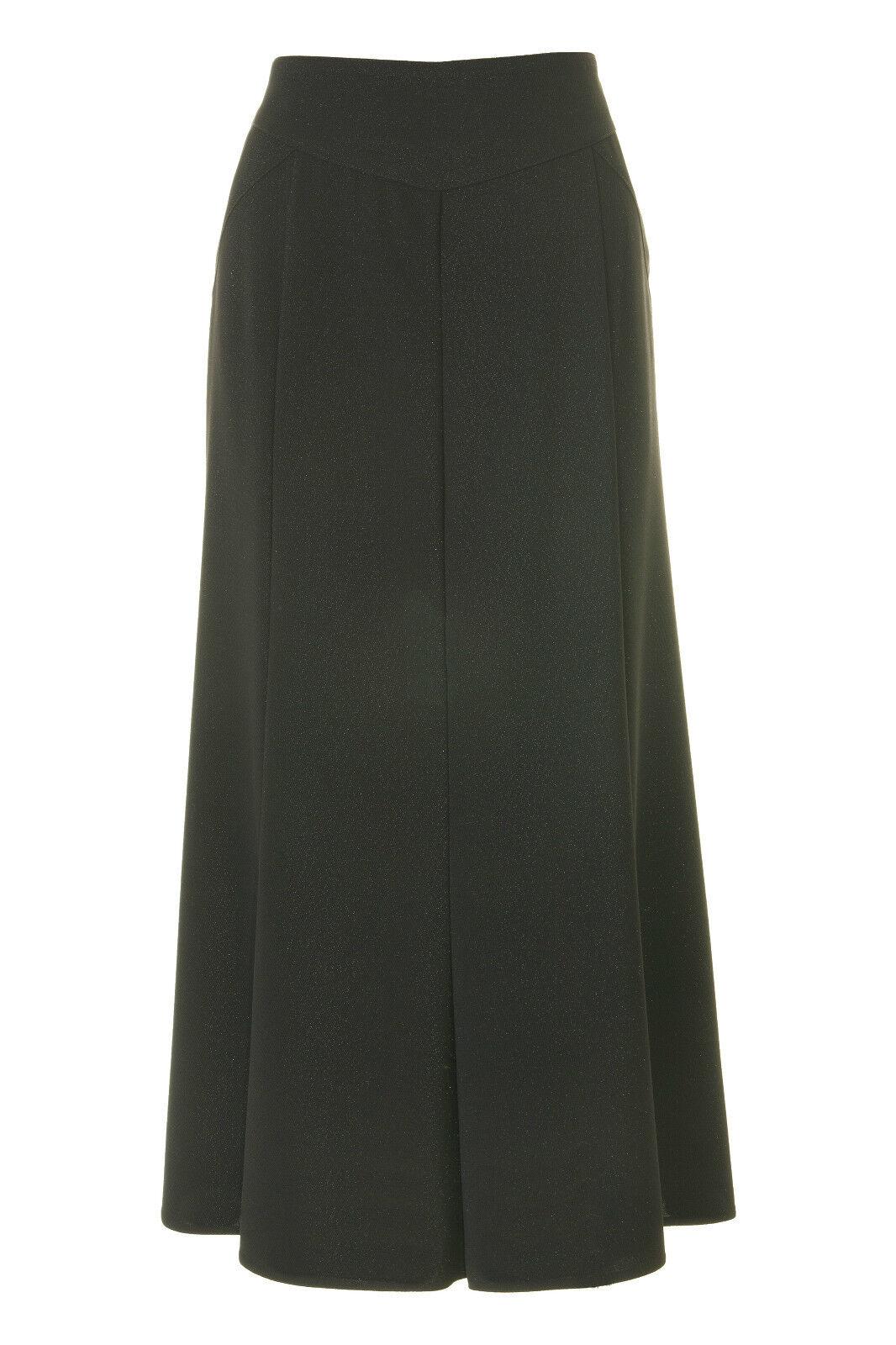 Busy Sparkle Black Long Flared Skirt
