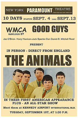 Eric Burdon & Animals at  Paramount Theatre NY Concert Poster Circa 1965