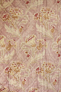 Antique-French-Art-Nouveau-quilt-printed-floral-1890-small-scale-check-Pink