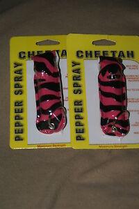 2-P-ZEBRA-Cheetah-18-OC-Police-Keychain-Pepper-Spray-w-UV-DYE-case-fits-mace