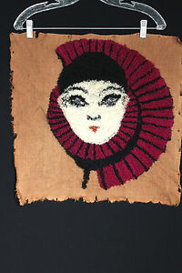 VINTAGE-FRENCH-1930S-UNFINISHED-EMBROIDERED-HARLEQUIN-FACE-ON-CANVAS-FABRIC
