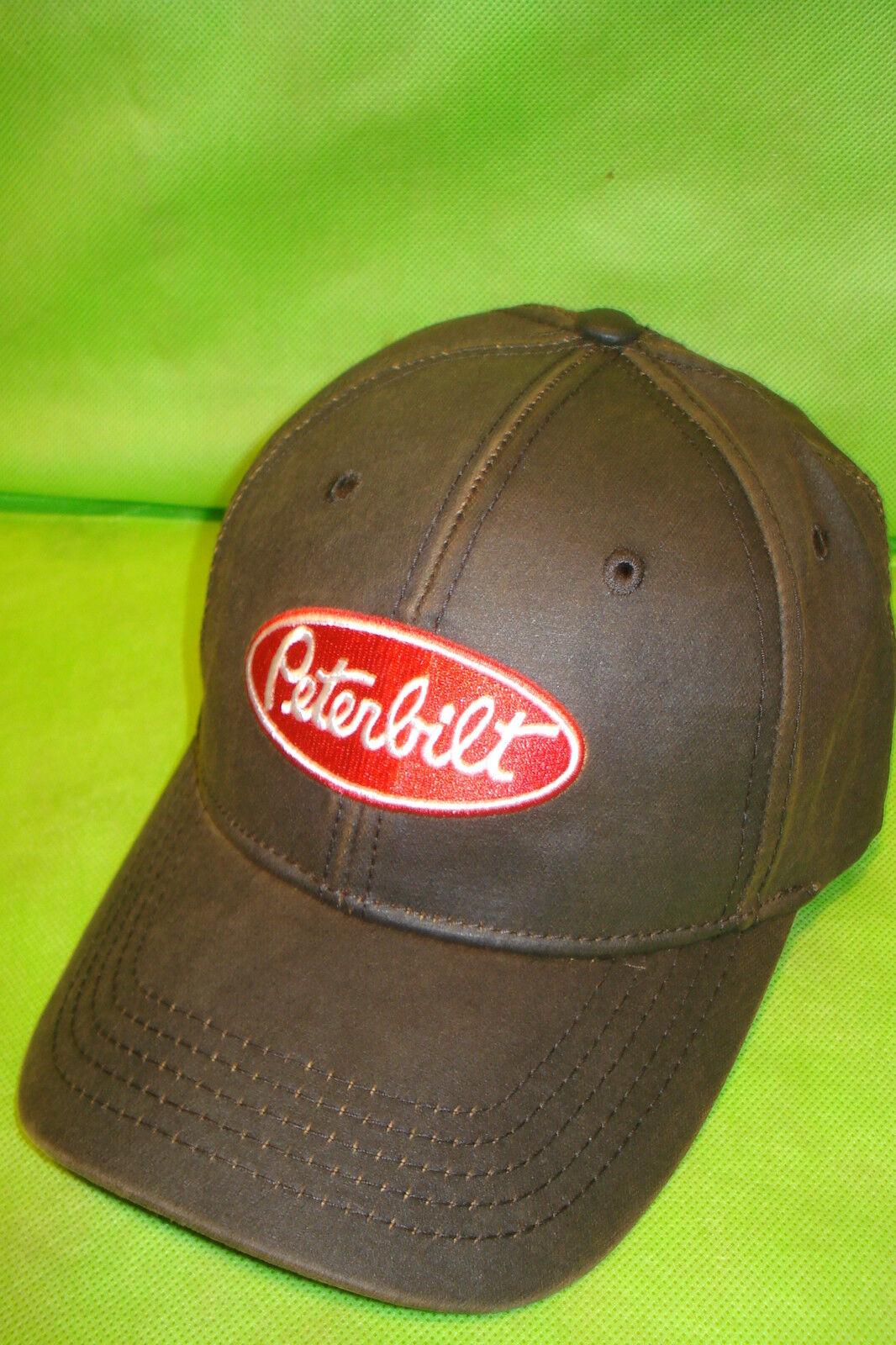 Peterbilt Hat: Oilcloth Brown Peterbilt Cap Free Shipping