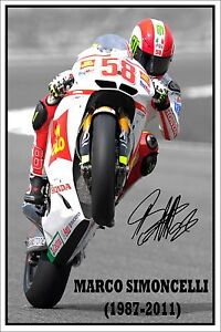 *MARCO SIMONCELLI* Autographed large photo of the late italian Moto GP star.
