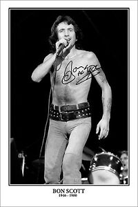 * BON SCOTT * Big signed wall poster of AC/DC legend! Great gift piece!