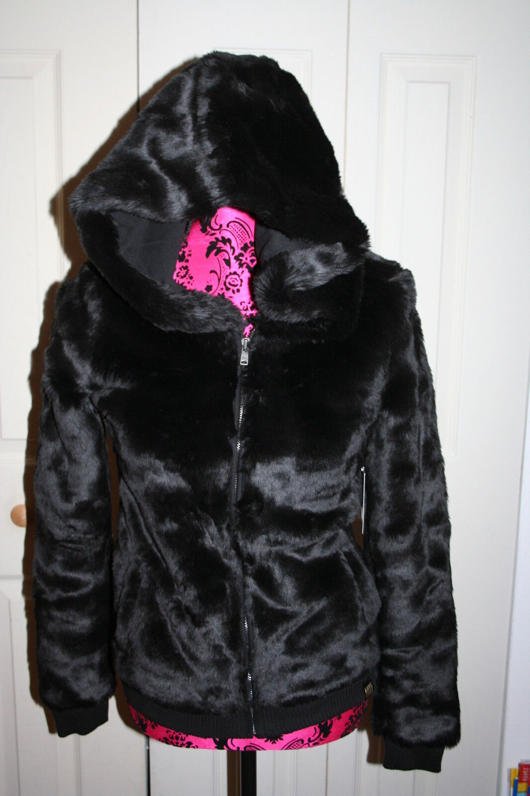 Victoria's Secret Love Pink Faux Fur Zip Hoodie Fashion Show Xs Jacket Black