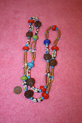 Vintage Estate 3 Strand Seed Bead & Ceramic, Shell Beads Multi-Colorful Necklace