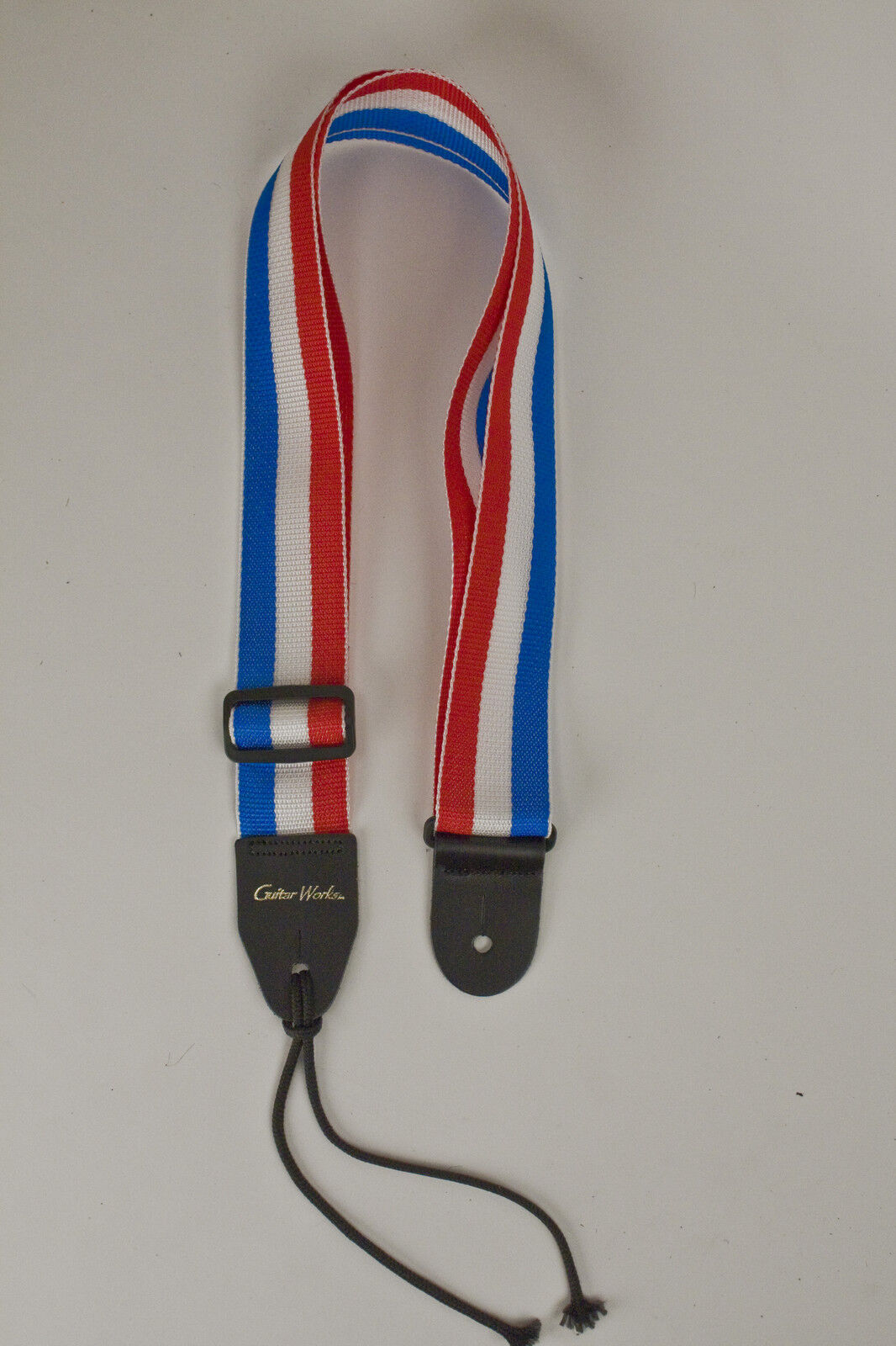 Guitar Strap Red White Blue Nylon Leather Ends Acoustic & Electric Made In Usa