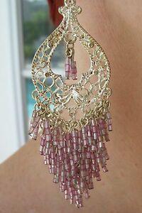 Silver-Dangle-Earrings-Beautiful-Pink-Beads-4-Long-Fish-Hook-Drop-Dead-Gorgeous