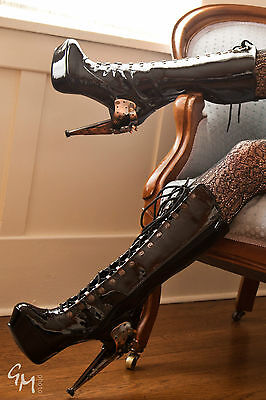 Hades Shoes Zeppelin Stiletto Knee High Booties Steam Punk Heels