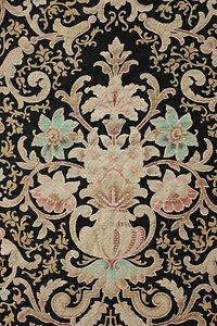 Antique-French-Art-Nouveau-Curtain-panel-drape-LARGE-black-ground-c-1890