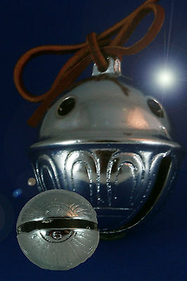 Polar Express CHROME Reindeer Bell # 5  Help them BELIEVE! Red Leather Tie