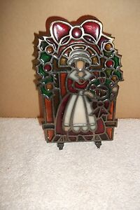 Vtg-Stained-Glass-Cast-Iron-Christmas-Angel-Glo-Candle-Holder-Hinged