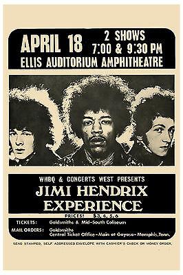 Jimi Hendrix Experience at Memphis Ellis Auditorium Theatre Poster 1969  13x19