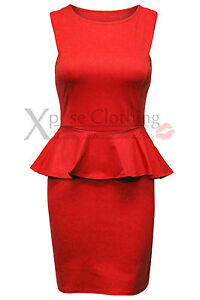 WOMEN LADIES SLEEVELESS PEPLUM SMART FRILL DRESS BODYCON DRESSES SKIRT TAYLORED