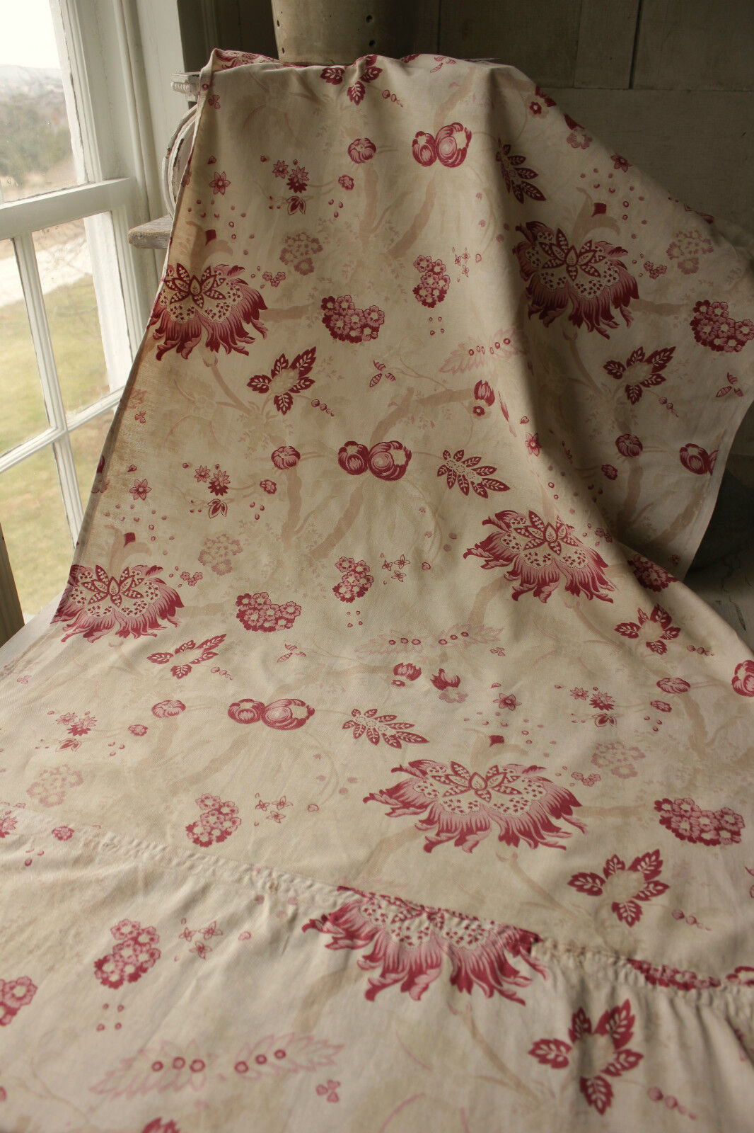 Vintage french fabric arborescent indienne floral design for Architecture indienne