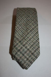 Scottish100% Silk/Wool/Cotton Woven Tweed Tie -  Jade, Light Grey blend
