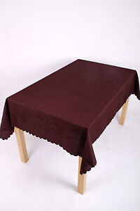 54 X 72 INCH OBLONG SHELL TABLECLOTH 13 COLOURS NON-IRON, STAIN PROOF, WASHABLE