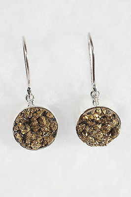 Handmade Gold Druzy And Sterling Silver Earrings