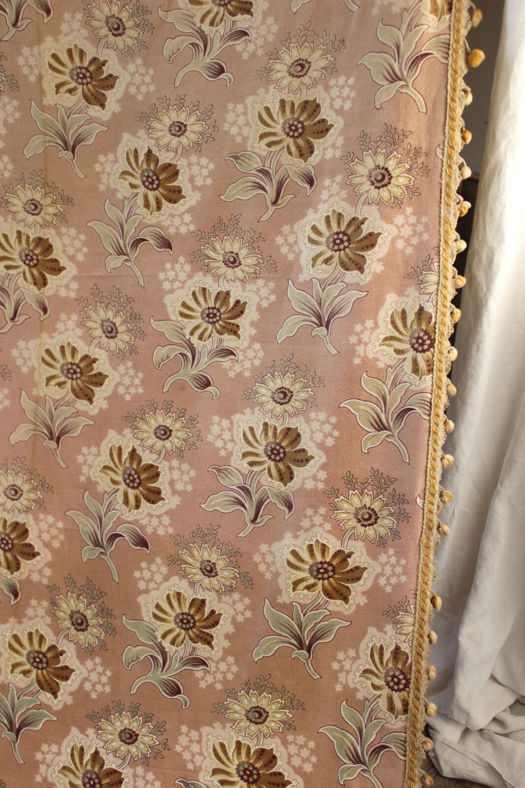 Large Fabric Panels : Antique french art nouveau fabric large curtain panel with