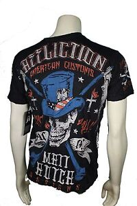 AUTHENTIC AFFLICTION AMERICAN CUSTOMS MATT HOTCH SKULL REAPER BLACK T SHIRT L