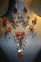 Peruvian Alpaca Silver,gemstone Necklace & Earring Setmahogany Obsidians14uk -  - ebay.co.uk