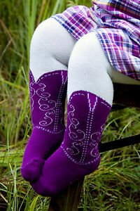 INFANT-TODDLER-COWBOY-BOOT-TIGHTS-PURPLE-BOOTZIES-SZ-6-18-MOS-LOOK-REAL
