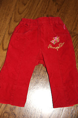 Pampolina 3m Infant Baby Girls Red Flower Corduroy Pants Bottoms Size 62 3-6m Ec