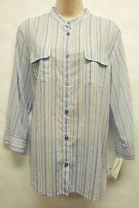 NWT-Adorable-Charter-Club-Woven-Shirts-II-Blue-Multi-Button-Down-Shirt-sz-14