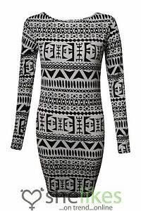 Womens-Long-Sleeve-Dress-Ladies-Tribal-Aztec-Print-Bodycon-Tunic-Dress-Top-8-14