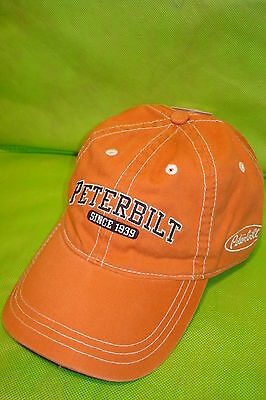 Peterbilt Hat: Orange Solid Cloth / Black / Silver Logo Free Shipping