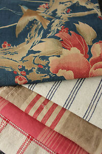 Antique-Vintage-French-fabrics-materials-Project-Bundle-blues-reds-pillow