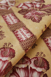 Antique-French-madder-fabric-blotch-ground-floral-stripe-c1850-material