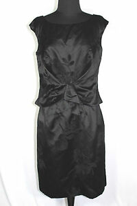 VINTAGE-1950S-1960S-COUTURE-BLACK-SILK-SATIN-DESIGNER-DRESS-SIZE-6