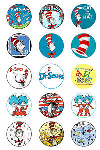 Dr Seuss Edible Cup Cake Toppers x 15 (Pre Cut) Cat In The Hat