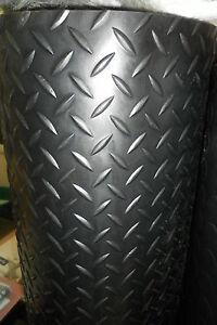 Superior Black CHECKER-PLATE Garage Van Shed Rubber Flooring Matting 1.5M WIDE