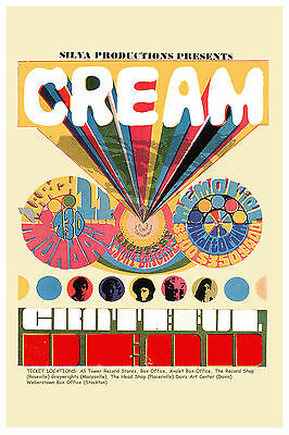 Rock: Eric Clapton & Cream & Grateful Dead at Santa Barbara Concert Poster 1968