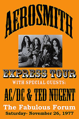 Heavy Metal: Aerosmith & AC/DC & Ted Nugent at L.A. Forum Concert Poster 1977