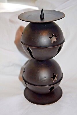 Bronzed Big Bells w/Stars Holiday Christmas Candle Stand