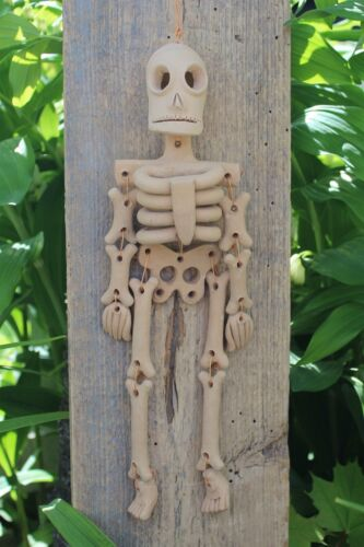 Day of the Dead Beige Skeleton Handmade Clay Atzompa Oaxaca Mexican Folk Art