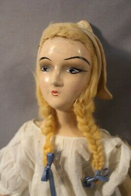 Antique Boudoir Doll Little Dutch Girl 24 inch Old Fine Hand Painted Cloth