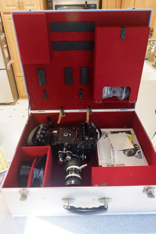 Bolex H16 EBM electronic film camera with case and misc items including manuals