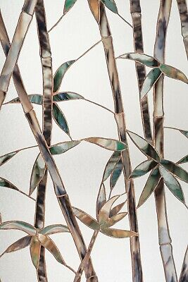 """Bamboo Glass Stained Glass Privacy Window Film 24"""" x 36"""" Static Cling Films"""