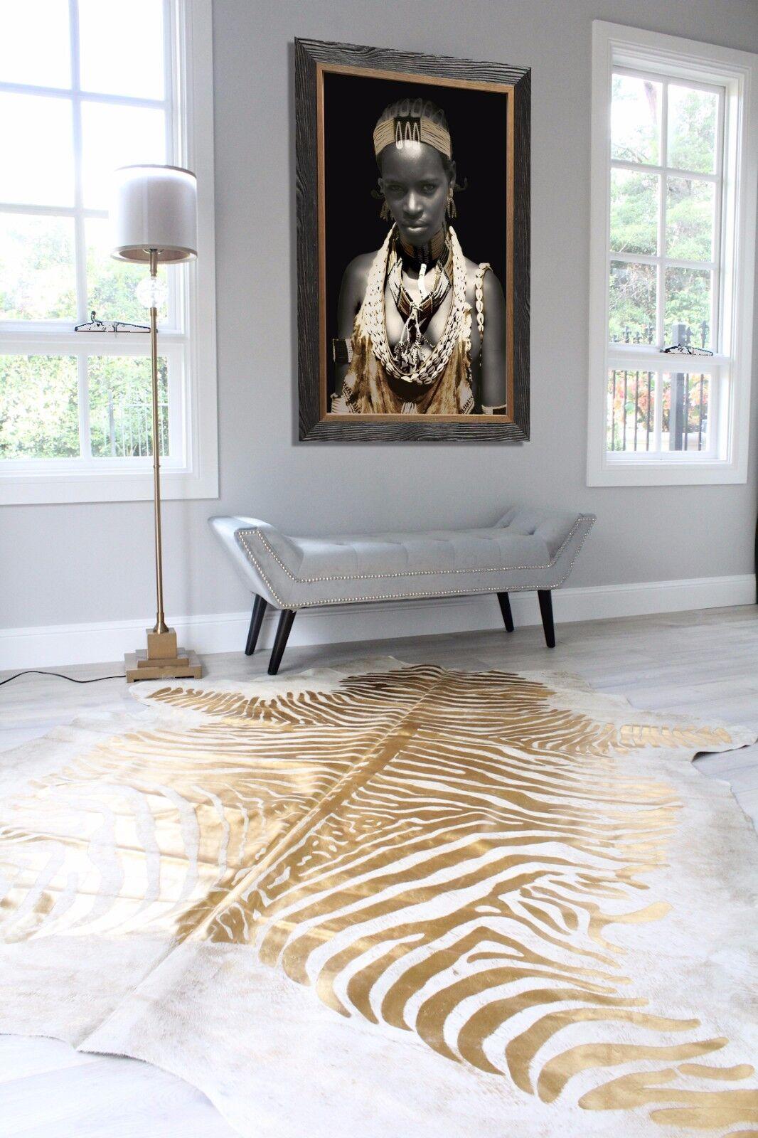 Gold Zebra Cowhide Rug High Quality