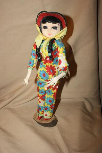 "Vintage Bradley Style Asian Big Eye Doll  conical hat braided hair 14 1/2"""