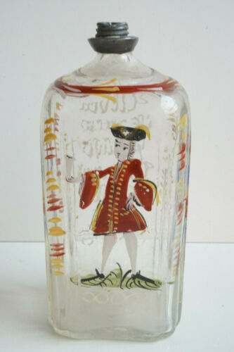 Enamel GENTLEMAN Decorated Flask Bottle STEIGEL TYPE Late 18thC EX Cond.