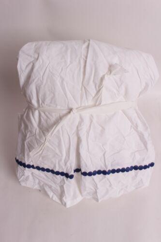 """New Pottery Barn PB Teen Pop Dot girls Queen bed skirt royal navy blue 18"""" drop"""