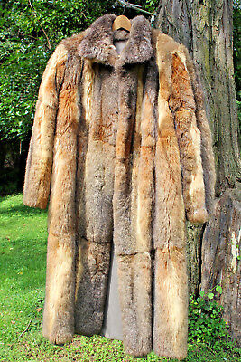 Real Sable Fur Reversible Long Trench Coat size 12