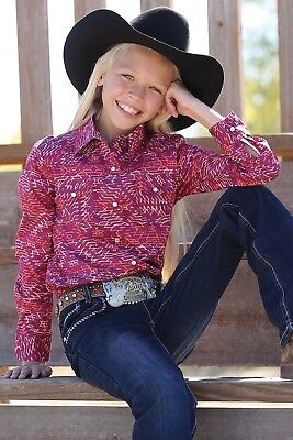 Girl Design Snap - Cruel Girl Girls' Burgundy Western Design Snap Up Western Shirt CTW3230003